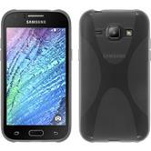 Silikon Hülle Galaxy J1 (2015 - J100) X-Style grau + 2 Schutzfolien