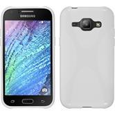 Silikon Hülle Galaxy J1 (2015 - J100) X-Style weiß + 2 Schutzfolien