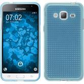 Silikon Hülle Galaxy J3 (2016) Iced hellblau + 2 Schutzfolien