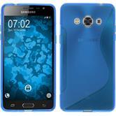 Silikon Hülle Galaxy J3 Pro S-Style blau + 2 Schutzfolien