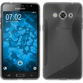 Silikon Hülle Galaxy J3 Pro S-Style grau + 2 Schutzfolien