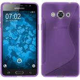 Silikon Hülle Galaxy J3 Pro S-Style lila + 2 Schutzfolien