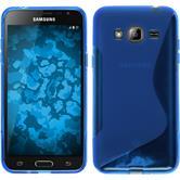 Silikon Hülle Galaxy J3 S-Style blau + 2 Schutzfolien