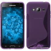 Silikon Hülle Galaxy J3 S-Style lila + 2 Schutzfolien