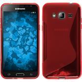 Silikon Hülle Galaxy J3 S-Style rot + 2 Schutzfolien