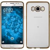 Silikon Hülle Galaxy J5 (2016) J510 Slim Fit gold + 2 Schutzfolien