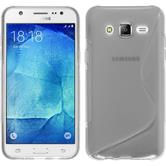 Silikon Hülle Galaxy J5 (2015 - J500) S-Style clear + 2 Schutzfolien
