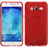 Silikon Hülle Galaxy J5 (2015 - J500) S-Style rot + 2 Schutzfolien