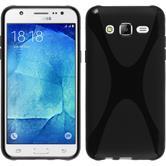Silikon Hülle Galaxy J5 (2015 - J500) X-Style schwarz + 2 Schutzfolien