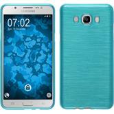 Silikon Hülle Galaxy J7 (2016) J710 brushed blau + 2 Schutzfolien