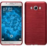 Silikon Hülle Galaxy J7 (2016) J710 brushed rot + 2 Schutzfolien