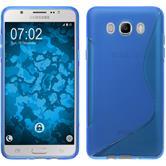 Silikon Hülle Galaxy J7 (2016) J710 S-Style blau + 2 Schutzfolien