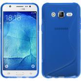 Silikon Hülle Galaxy J7 S-Style blau + 2 Schutzfolien