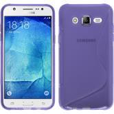 Silikon Hülle Galaxy J7 S-Style lila + 2 Schutzfolien