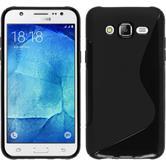 Silikon Hülle Galaxy J7 S-Style schwarz + 2 Schutzfolien