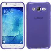 Silikon Hülle Galaxy J7 transparent lila + 2 Schutzfolien