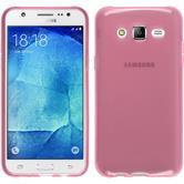 Silikon Hülle Galaxy J7 transparent rosa + 2 Schutzfolien