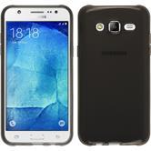 Silikon Hülle Galaxy J7 transparent schwarz + 2 Schutzfolien