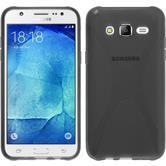 Silikon Hülle Galaxy J7 X-Style grau + 2 Schutzfolien
