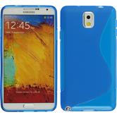 Silikon Hülle Galaxy Note 3 S-Style blau + 2 Schutzfolien