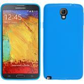 Silikon Hülle Galaxy Note 3 Neo matt blau + 2 Schutzfolien