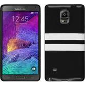 Silikon Hülle Galaxy Note 4 Stripes schwarz + 2 Schutzfolien