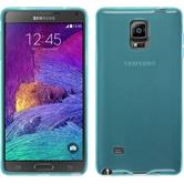 Silikon Hülle Galaxy Note 4 transparent türkis + 2 Schutzfolien