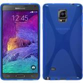 Silikon Hülle Galaxy Note 4 X-Style blau + 2 Schutzfolien