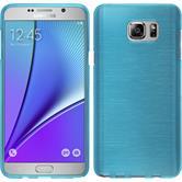 Silikon Hülle Galaxy Note 5 brushed blau + 2 Schutzfolien