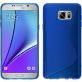 Silikon Hülle Galaxy Note 5 S-Style blau + 2 Schutzfolien