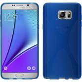 Silikon Hülle Galaxy Note 5 X-Style blau + 2 Schutzfolien
