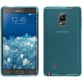 Silikon Hülle Galaxy Note Edge transparent türkis + 2 Schutzfolien