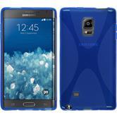 Silikon Hülle Galaxy Note Edge X-Style blau + 2 Schutzfolien