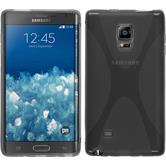 Silikon Hülle Galaxy Note Edge X-Style grau + 2 Schutzfolien