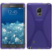 Silikon Hülle Galaxy Note Edge X-Style lila + 2 Schutzfolien