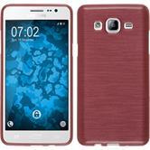 Silikon Hülle Galaxy On5 brushed rosa + 2 Schutzfolien