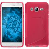 Silikon Hülle Galaxy On5 S-Style pink + 2 Schutzfolien