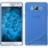 Silikon Hülle Galaxy On7 S-Style blau + 2 Schutzfolien