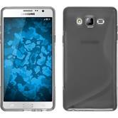 Silikon Hülle Galaxy On7 S-Style grau + 2 Schutzfolien