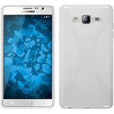 Silikon Hülle Galaxy On7 X-Style weiß + 2 Schutzfolien