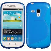 Silikon Hülle Galaxy S3 Mini S-Style blau + 2 Schutzfolien