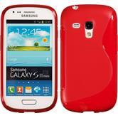 Silikon Hülle Galaxy S3 Mini S-Style rot + 2 Schutzfolien