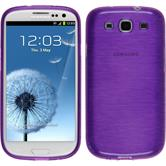 Silikon Hülle Galaxy S3 Neo brushed lila + 2 Schutzfolien