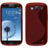 Silikon Hülle Galaxy S3 Neo S-Style rot + 2 Schutzfolien