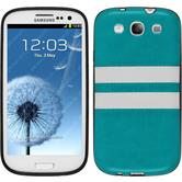 Silicone Case for Samsung Galaxy S3 Neo Stripes turquoise