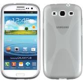 Silikon Hülle Galaxy S3 Neo X-Style grau + 2 Schutzfolien