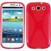 Silikon Hülle Galaxy S3 Neo X-Style rot + 2 Schutzfolien