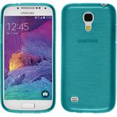 Silikon Hülle Galaxy S4 Mini Plus I9195 brushed blau + 2 Schutzfolien