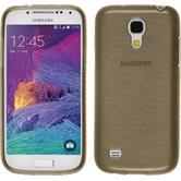 Silikon Hülle Galaxy S4 Mini Plus I9195 brushed gold + 2 Schutzfolien