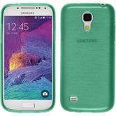 Silikon Hülle Galaxy S4 Mini Plus I9195 brushed grün + 2 Schutzfolien
